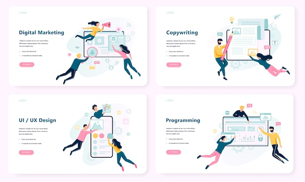 Insieme della bandiera di concetto di marketing digitale. social network e media communication. seo, sem e promozione online. copywriting, ui ux. illustrazione in stile