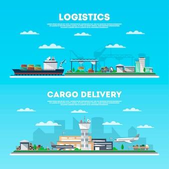 Insieme della bandiera di consegna di carico e logistica