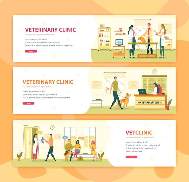 Insieme della bandiera di consultazione veterinaria della clinica veterinaria o dell'ospedale