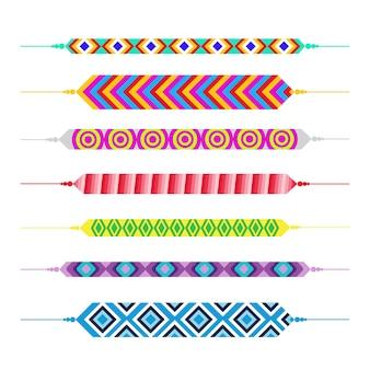 Insieme della bandiera di festa della cartolina d'auguri di giorno felice degli amici dei braccialetti di amicizia