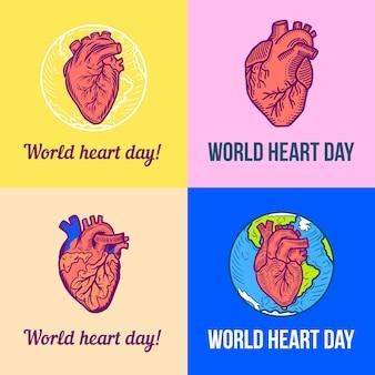 Insieme della bandiera di giorno cuore rosso del mondo