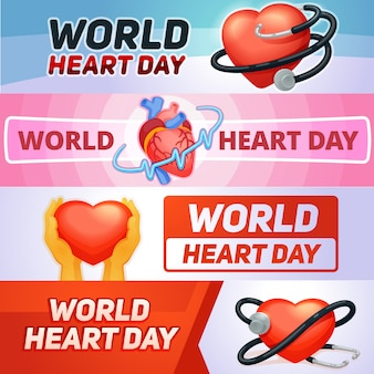 Insieme della bandiera di giorno del cuore del mondo