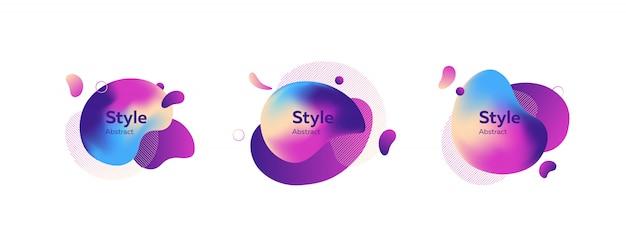 Insieme della bandiera di oggetti a forma di bolla multicolori creativi
