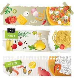 Insieme della bandiera di piatti di cucina italiana