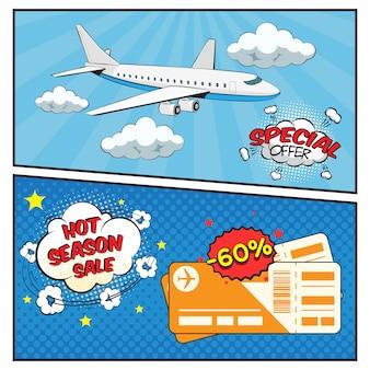 Insieme della bandiera di stile comico di vendita di biglietti aerei