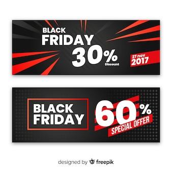 Insieme della bandiera di vendita di cyber lunedì astratto rosso e nero