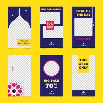 Insieme della bandiera di vendita di ramadan di storie di instagram