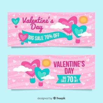 Insieme della bandiera di vendita di san valentino di colore pastello