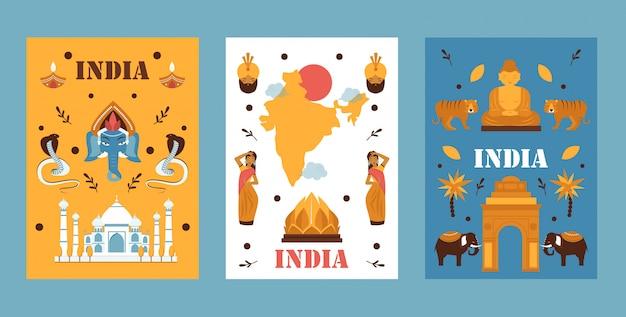 Insieme della bandiera di viaggio india