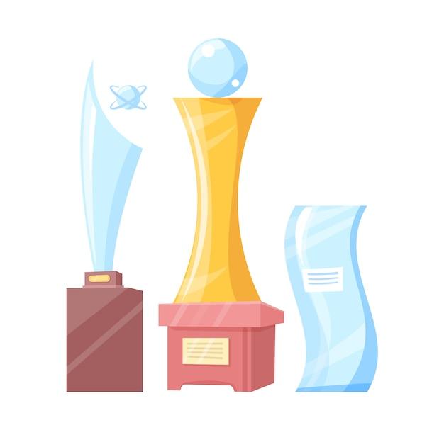 Insieme della bandiera variopinta dei premi dorati e di vetro