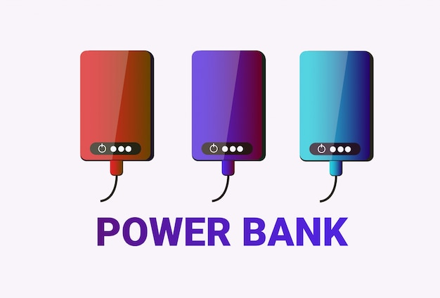 Insieme della batteria portatile variopinta delle banche di potere per la raccolta di carico