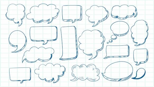 Insieme della bolla di discorso di schizzo disegnato a mano