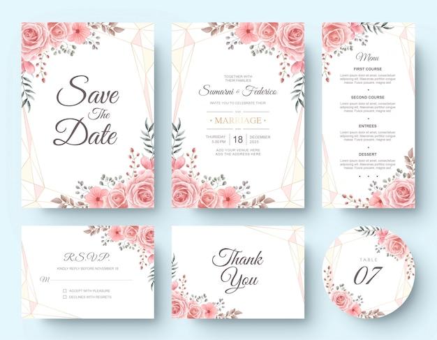 Insieme della cancelleria della carta dell'invito di nozze del fiore dell'acquerello