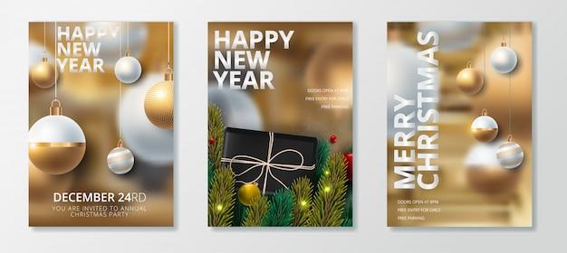 Insieme della cartolina d'auguri di buon anno e buon natale