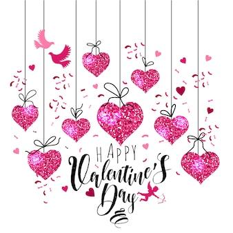 Insieme della cartolina d'auguri di san valentino