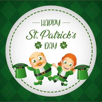 Insieme della cartolina d'auguri irlandese leprechaun, cartolina d'auguri di san patrizio
