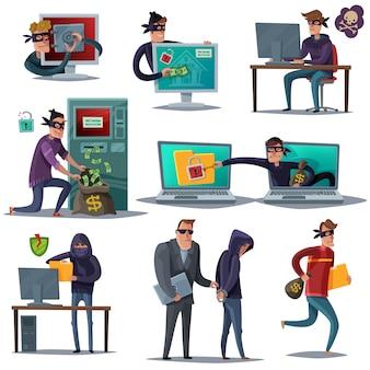 Insieme della composizione in sicurezza del pirata informatico di internet