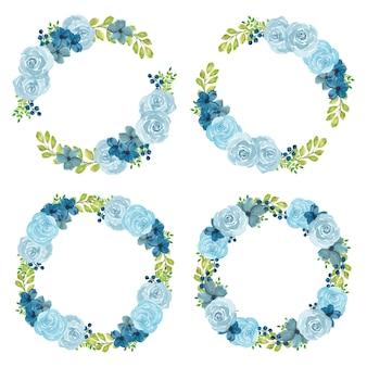 Insieme della corona floreale della rosa blu dell'acquerello