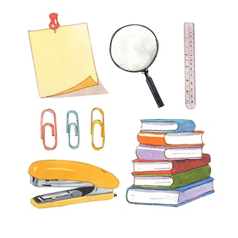 Insieme della cucitrice meccanica isolata dell'acquerello, clip, illustrazione della lente d'ingrandimento per uso decorativo.