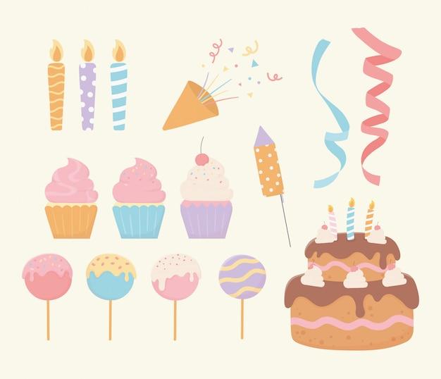 Insieme della decorazione del partito del nastro dei coriandoli delle candele del gelato del bigné della torta di compleanno