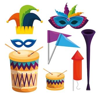 Insieme della decorazione di tradizione di carnevale alla celebrazione di festival