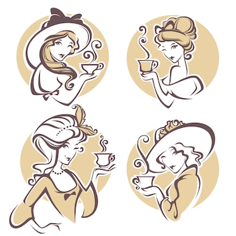 Insieme della donna storica differente con la tazza dell'illustrazione del tè