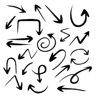 Insieme della freccia disegnata a mano, frecce di tiraggio della matita di direzione