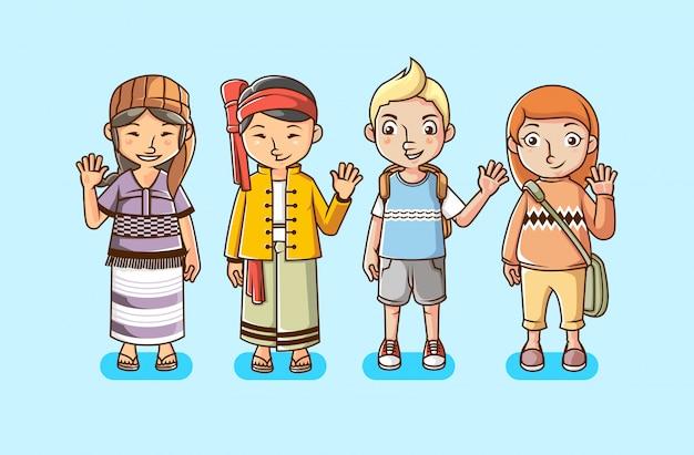 Insieme della gente con l'illustrazione varia di vettore della cultura multirazziale