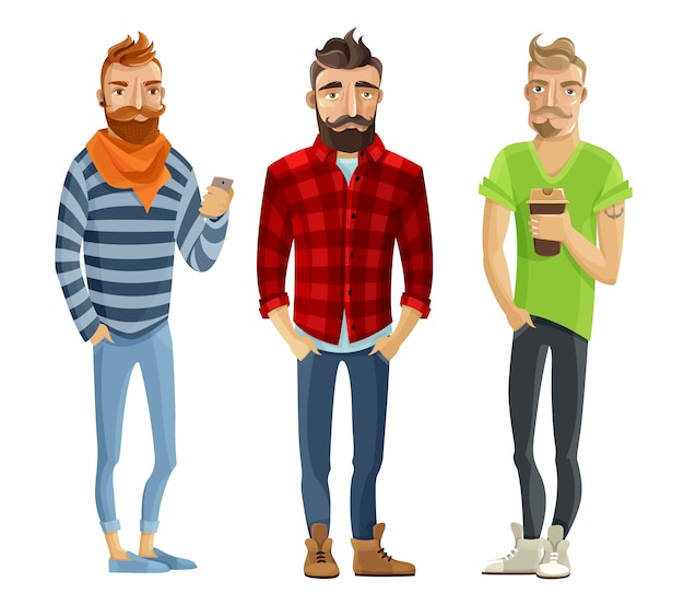 Insieme della gente del fumetto dei pantaloni a vita bassa