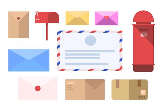 Insieme della lettera, icona della lettera, vettore dell'illustrazione della lettera e contenitore di posta