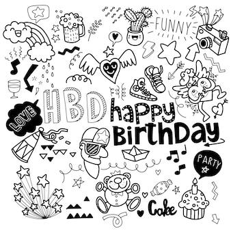 Insieme della linea di schizzo di doodle disegnato a mano festa di compleanno