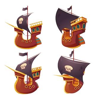 Insieme della nave di pirata isolato su fondo bianco.