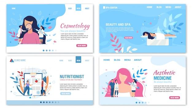 Insieme della pagina di destinazione di beauty nutrition services