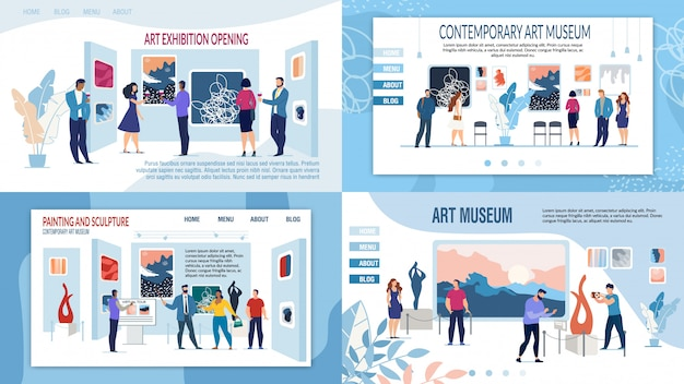 Insieme della pagina di destinazione di presentazione del museo della galleria d'arte