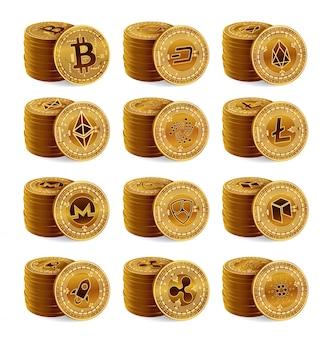 Insieme della pila delle monete fisiche di criptovaluta dorata 3d. bitcoin, ripple, ethereum, litecoin, monero e altri.