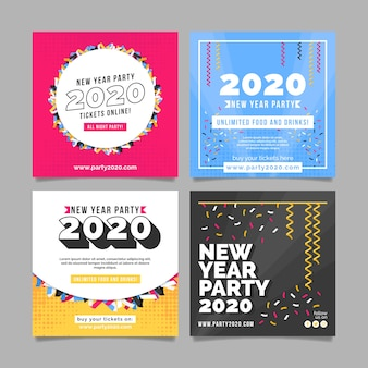 Insieme della posta del instagram del partito del nuovo anno