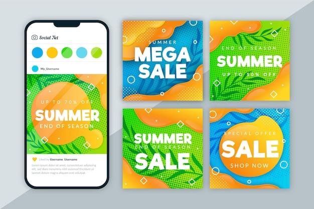 Insieme della posta del instagram di vendita di fine della stagione estiva