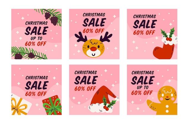 Insieme della posta di instagram di vendita di natale