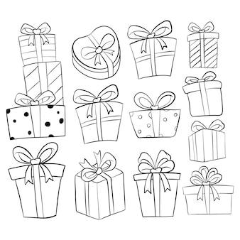 Insieme della raccolta del contenitore di regalo di compleanno con stile disegnato a mano o di scarabocchio su bianco