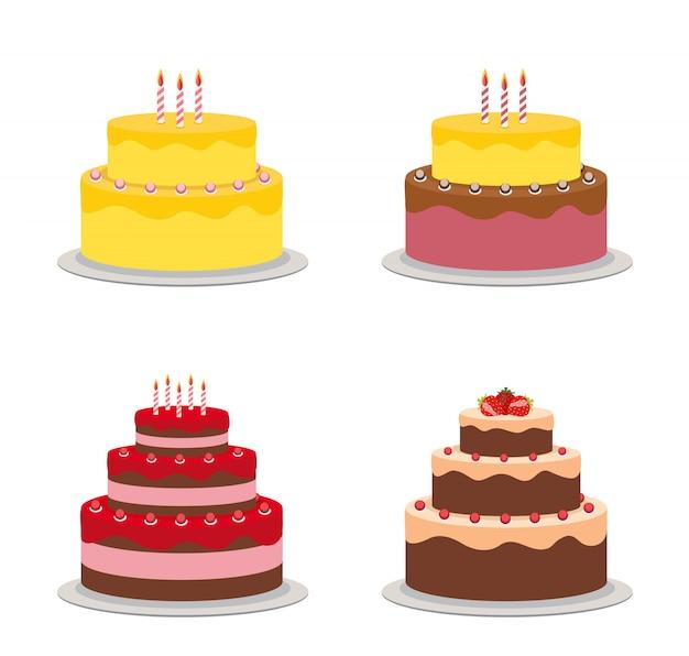 Insieme della raccolta dell'icona piana della torta di compleanno