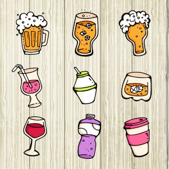 Insieme della raccolta di vetro e della tazza della bevanda del fumetto sveglio del vino della birra dell'alcool