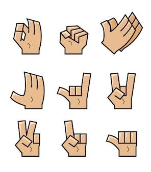 Insieme della raccolta di vettore di gesto di mano del fumetto del cubo.