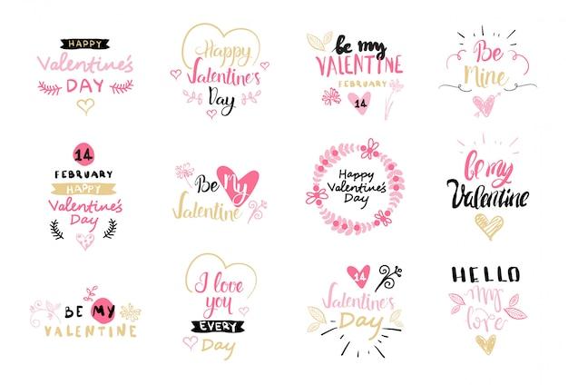 Insieme della raccolta disegnata a mano creativa degli elementi dell'iscrizione dell'etichetta e dei distintivi di san valentino isolata su fondo bianco