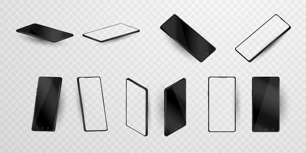 Insieme della struttura del telefono cellulare con i modelli isolati esposizione in bianco