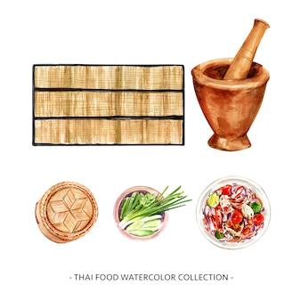 Insieme della stuoia di progettazione dell'acquerello, illustrazione dell'insalata della papaia.