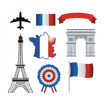 Insieme della torre eiffel e bandiera della francia con il nastro