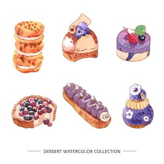 Insieme della torta dell'acquerello, biscotti, dolce su fondo bianco per uso decorativo.
