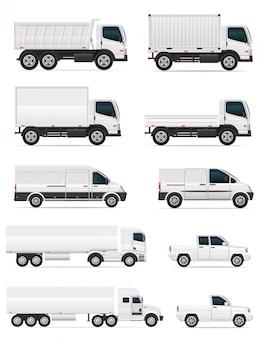 Insieme delle automobili e del camion in bianco per l'illustrazione di vettore del carico del trasporto