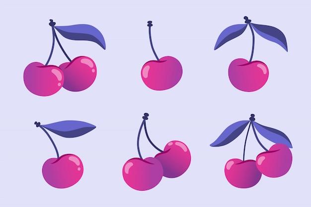 Insieme delle bacche della ciliegia con le foglie isolate, illustrazione piana disegnata a mano