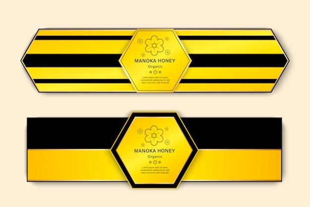 Insieme delle bandiere del miele con l'illustrazione disegnata a mano di schizzo